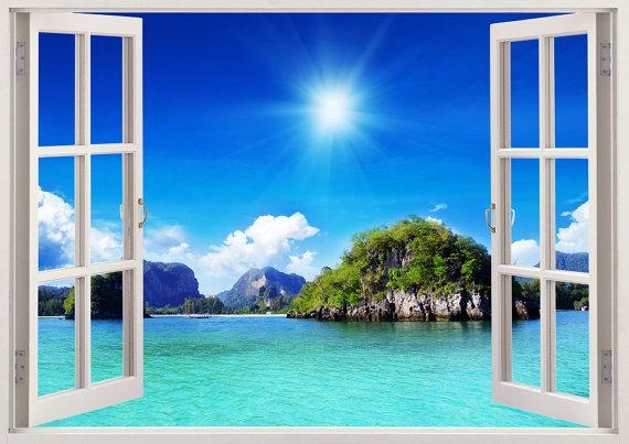 Beautiful Beach Wall Art 3D Window Colorful Beach Vinyl Wall Pertaining To Beach 3D Wall Art (Image 8 of 20)