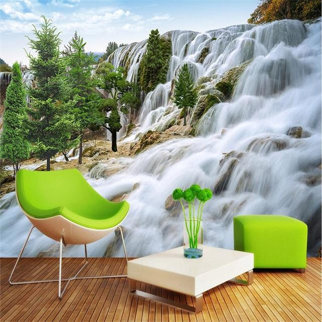 Beibehang Custom Painting Fo Room Rocky Mountain Waterfall Art Intended For 3D Wall Art For Living Room (Image 10 of 20)