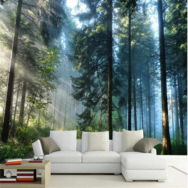 Beibehang Custom Painting Living Room Natural Forest Wall Art For 3D Wall Art For Living Room (Image 11 of 20)