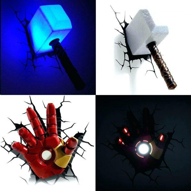 Benefits Of Iron Man Wall Light 3D Art Nightlight Thor Hammer In 3D Wall Art Night Light Spiderman Hand (Image 6 of 20)