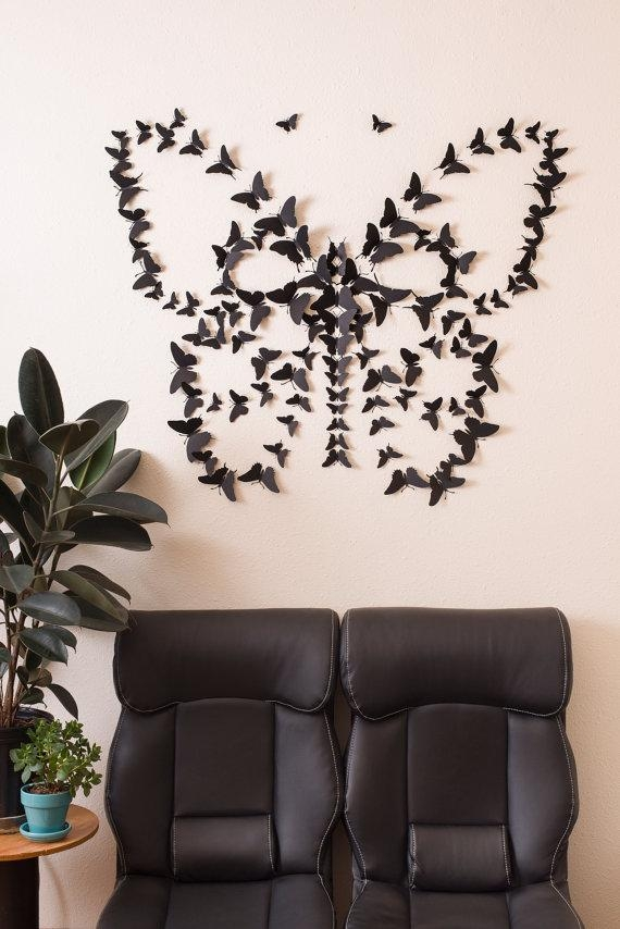 Black 3D Butterfly Wall Art Intended For 3D Butterfly Wall Art (View 5 of 20)