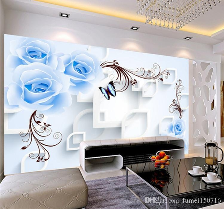 Blue Rose Floral Wallpaper 3D Wall Mural For Living Room Home Wall In 3D Wall Art For Living Room (Image 13 of 20)