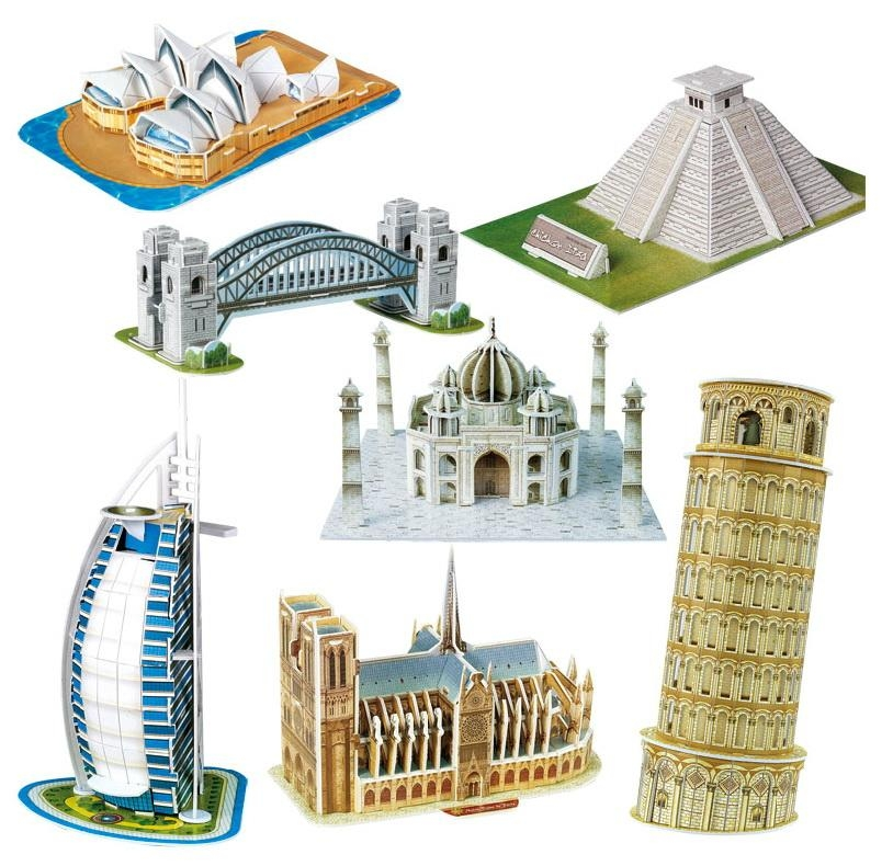 Bohs Scale Paper Miniature Model Eiffel Tower Bridge Great Wall Inside Great Wall Of China 3D Wall Art (View 17 of 20)