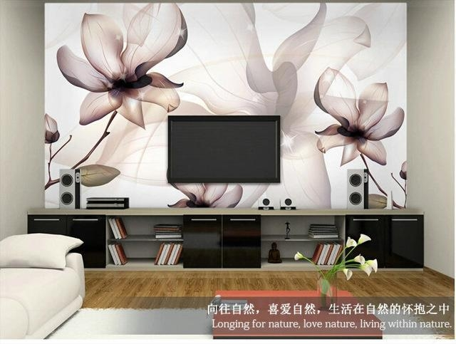 Brief Modern Tv Background Wallpaper Sofa Simple And Elegant Walls In Painting 3D Wall Panels (Image 9 of 20)