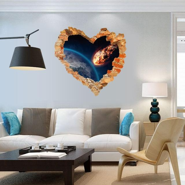 Broken Wall Art Decal Shooting Star Into Earth 3D Effect Wall In 3D Effect Wall Art (Image 10 of 20)