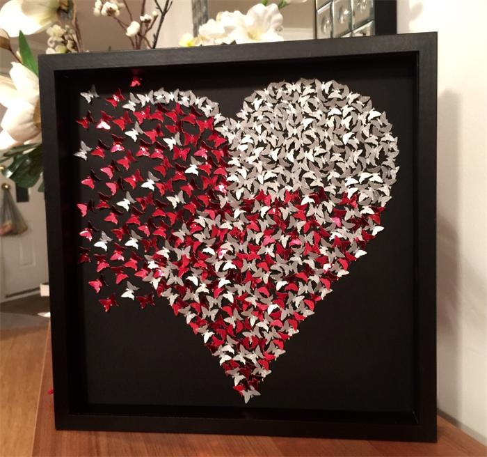 Butterflies Heart | Girls Room Decor | 3D Heart Frame Wall Art Throughout Heart 3D Wall Art (Image 8 of 20)