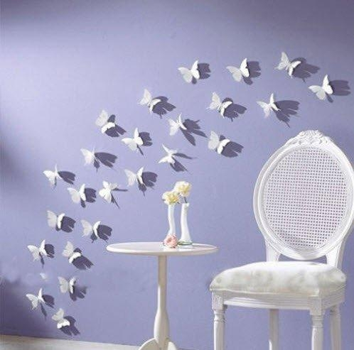 Butterfly Wall Art: 12Pcs/pack White Pvc 3D Decorative Butterflies Intended For 3D Wall Art For Bathroom (Image 16 of 20)
