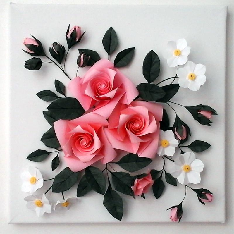 Buy 3D Origami Canvas Wall Art – Origami Rose Pertaining To 3D Wall Art Canvas (Image 8 of 20)