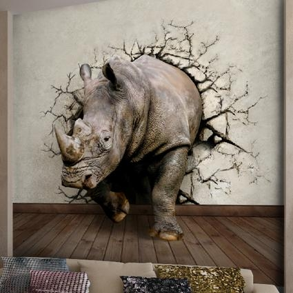 Can Customized Art Wall Stickers Rhino Large 3D Effects Mural Throughout Animals 3D Wall Art (Image 10 of 20)