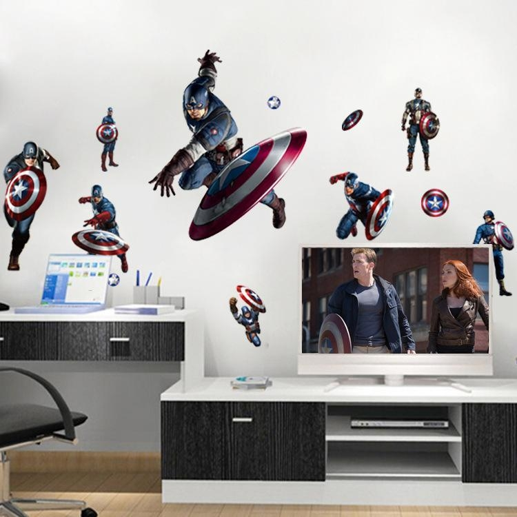 Captain America Shield Defense Avengers Wall Decal Stickers Peel For Captain America 3D Wall Art (Image 13 of 20)