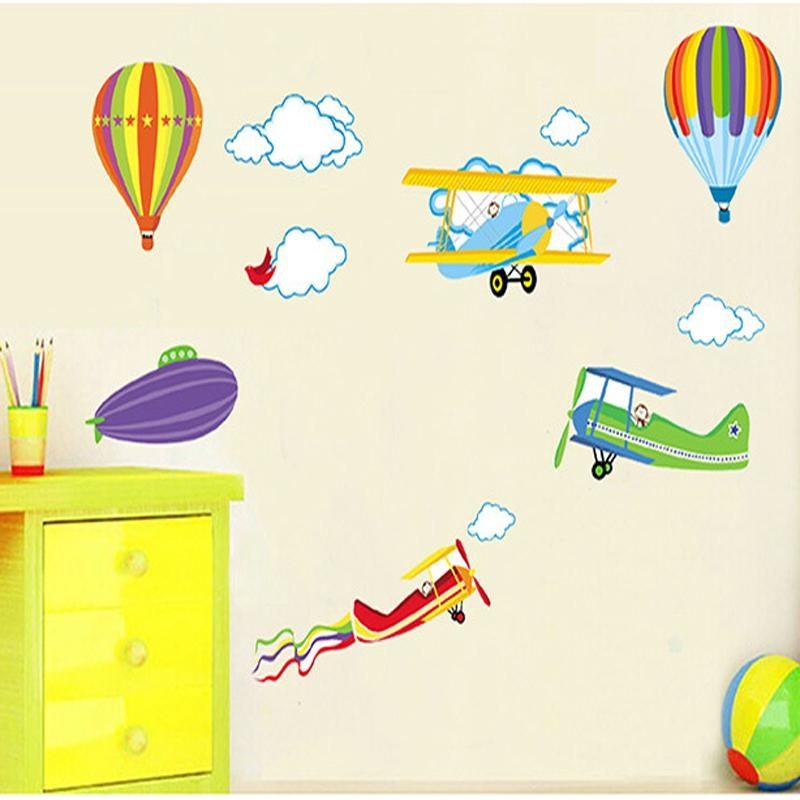 Cartoon Wall Stickers For Kids Baby Rooms Decor Removable Vinyl Within Air Balloon 3D Wall Art (Image 14 of 20)