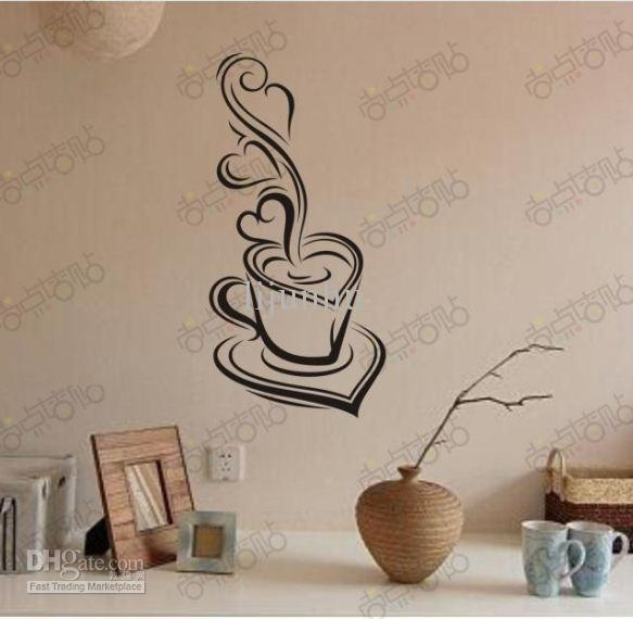 Coffee Mood Removable Vinyl Pvc Wall Art Words Stickers Diy 3D Pertaining To 3D Wall Art Words (Image 10 of 20)