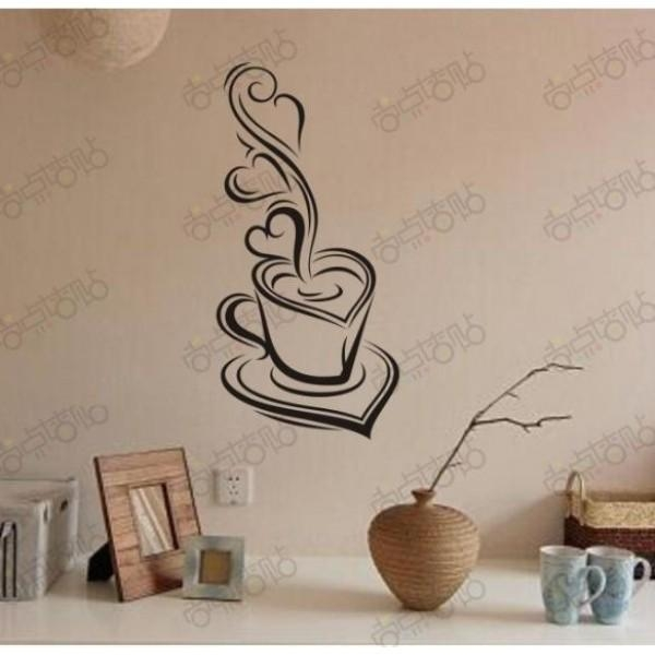 Coffee Mood Removable Vinyl Pvc Wall Art Words Stickers Diy 3D Throughout 3D Wall Art Words (Image 11 of 20)