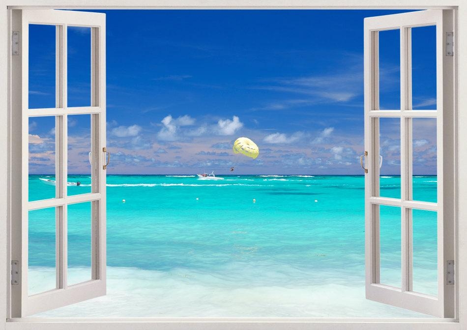 Colorful Beach Wall Art 3D Window Blue Beach Wall Decals Within Beach 3D Wall Art (Image 10 of 20)