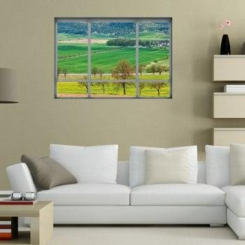 Countryside View Vinyl 3D Wall Art Sticker, Green,  (Image 10 of 20)