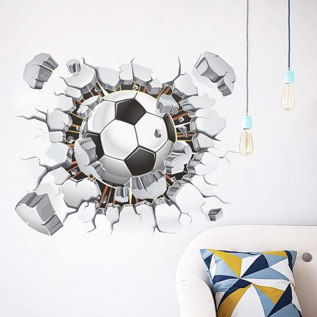 Creative 3D Wall Art Decor Football Wall Stickers Boy Kids Bedroom Throughout Football 3D Wall Art (Image 6 of 20)