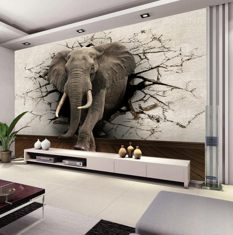 Custom 3D Elephant Wall Mural Personalized Silk Photo Wallpaper With Animals 3D Wall Art (Image 12 of 20)