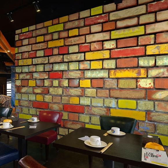 Custom 3D Mural 3D Color Brick Wall Painting Ktv Bar Restaurant Pertaining To 3D Brick Wall Art (Image 7 of 20)