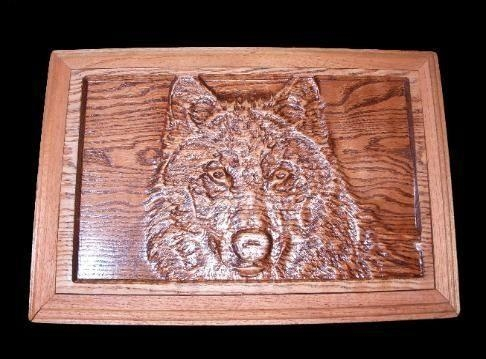 "Custom 3D Wall Art ""wolf Carving""hardwood Creations Throughout Wolf 3D Wall Art (Image 4 of 20)"