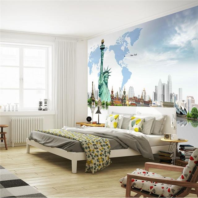Custom 3D Wall Mural Fashion Photo Wallpaper Statue Of Liberty With Bedroom 3D Wall Art (Image 12 of 20)