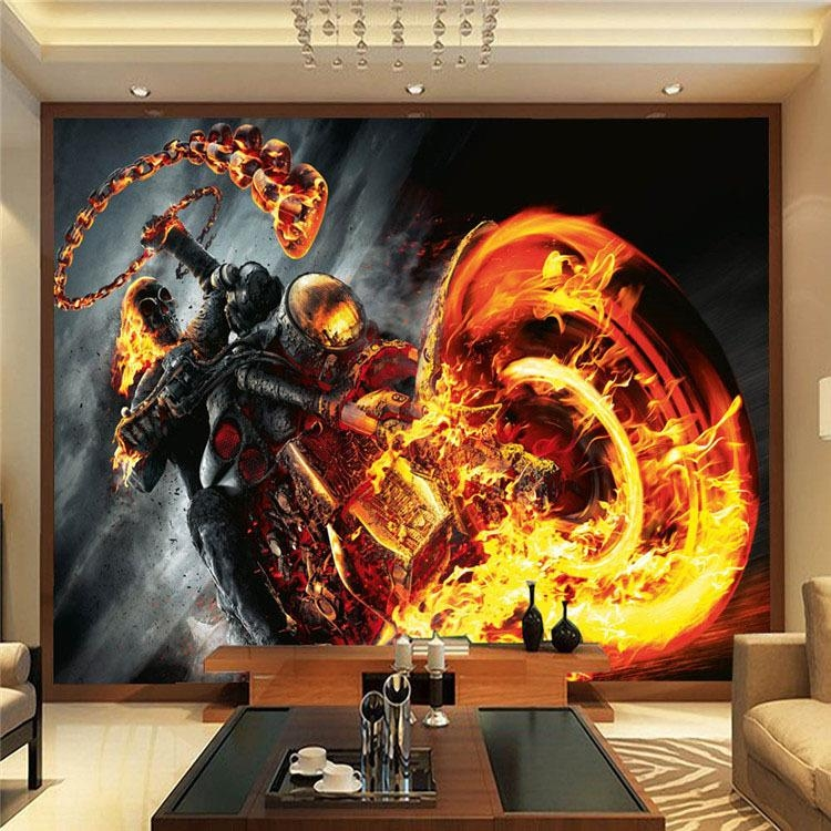 Custom 3D Wall Mural Ghost Rider Photo Wallpaper Marvel Heroes With Regard To Marvel 3D Wall Art (Image 10 of 20)