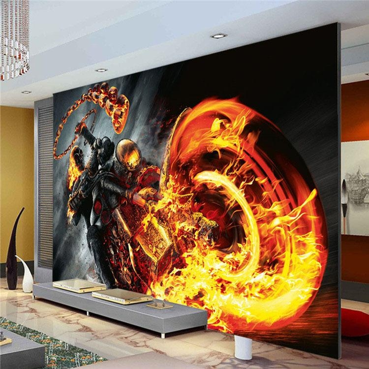 Custom 3D Wall Mural Ghost Rider Photo Wallpaper Marvel Heroes With Regard To Marvel 3D Wall Art (Image 11 of 20)