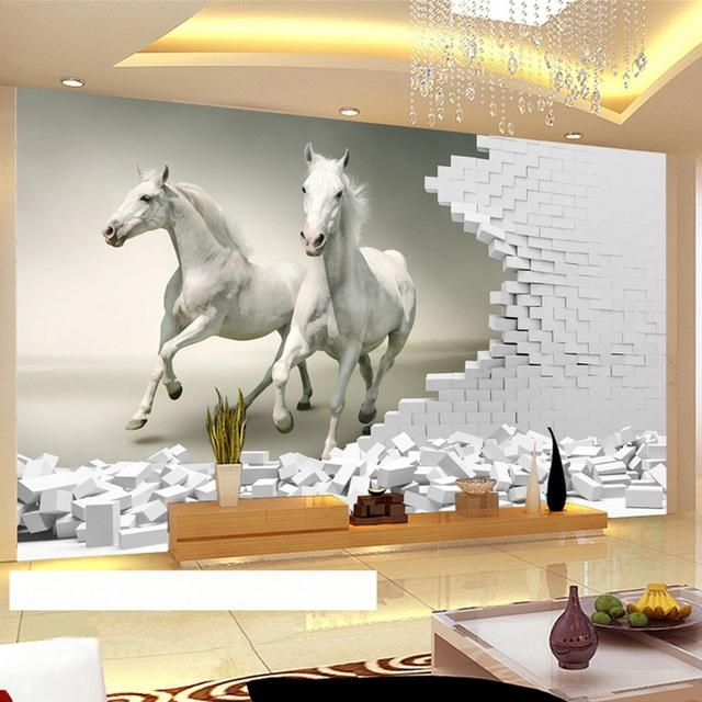 Custom 3D Wall Murals Wallpaper 3D Stereoscopic White Horse Brick Throughout 3D Wall Art For Living Room (Image 14 of 20)