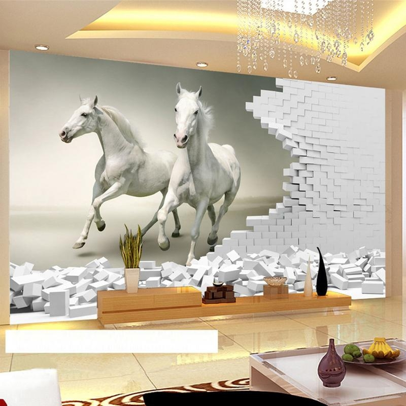 Custom 3D Wall Murals Wallpaper 3D Stereoscopic White Horse Brick Within 3D Horse Wall Art (Image 10 of 20)