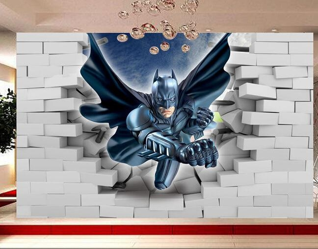 Custom Papel De Parede Infantil, 3D Batman To Break The Wall For With Batman 3D Wall Art (View 10 of 20)