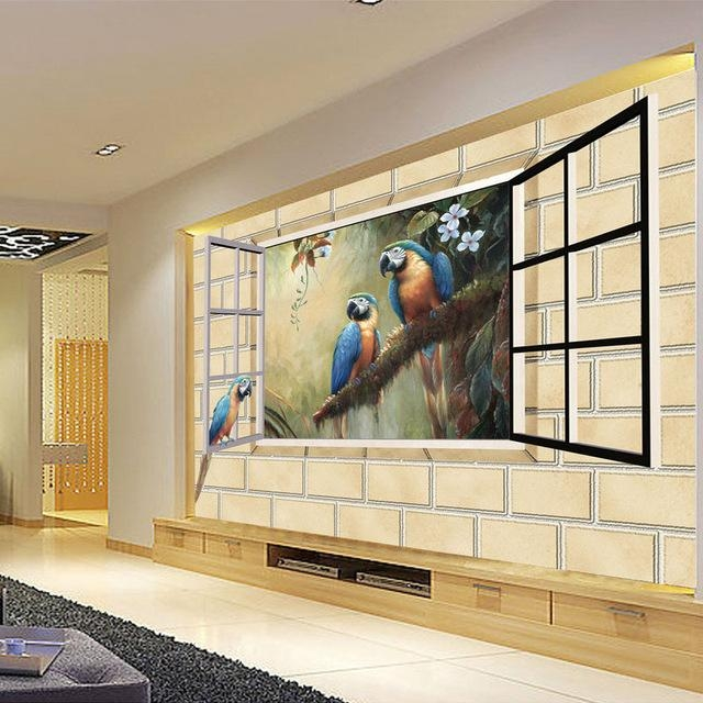 Custom Photo 3D Brick Wall Parrot Wallpaper Mural Modern 3D Art Within 3D Brick Wall Art (Image 8 of 20)