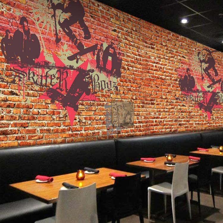 Custom Photo Wallpaper Graffiti Art 3D Wallpaper Red Brick Wall In 3D Brick Wall Art (Image 9 of 20)