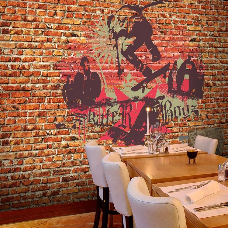 Custom Photo Wallpaper Graffiti Art 3D Wallpaper Red Brick Wall Intended For 3D Brick Wall Art (Image 10 of 20)