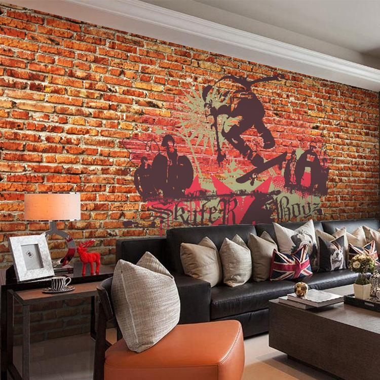 Custom Photo Wallpaper Graffiti Art 3D Wallpaper Red Brick Wall Throughout 3D Brick Wall Art (Image 11 of 20)