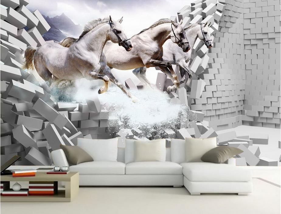 Customize 3D Wallpaper Brick Wall White Horse Gallop Wall Papers Throughout 3D Horse Wall Art (Image 11 of 20)