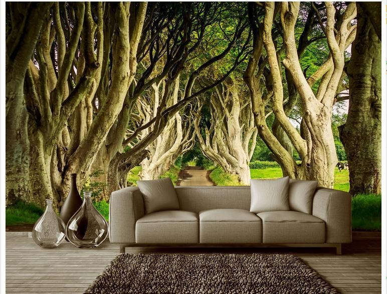 Customized 3D Photo Wallpaper 3D Wall Murals Wallpaper Great Trees Inside 3D Wall Art Wallpaper (Image 9 of 20)