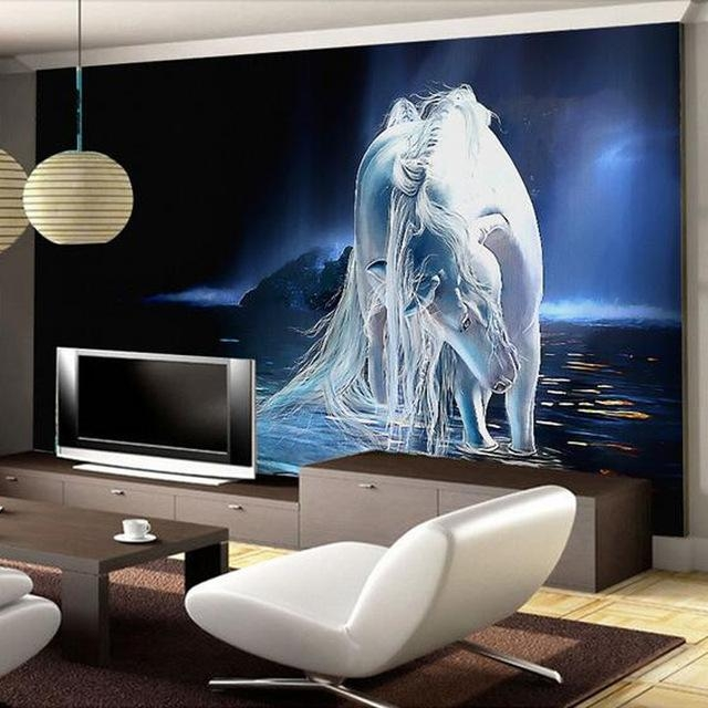 Customized Any Size White Horse Wall Art Painting Photo 3D Wall Pertaining To Bedroom 3D Wall Art (Image 13 of 20)