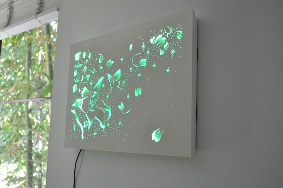 Decorative Wall Mount Led Art Panel With Gray Wall Accent With With 3D Modern Wall Art (Image 9 of 20)