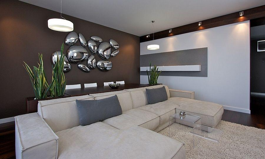 Designs Ideas : Contemporary Living Room With Sectional Leather Throughout Contemporary 3D Wall Art (Image 12 of 20)
