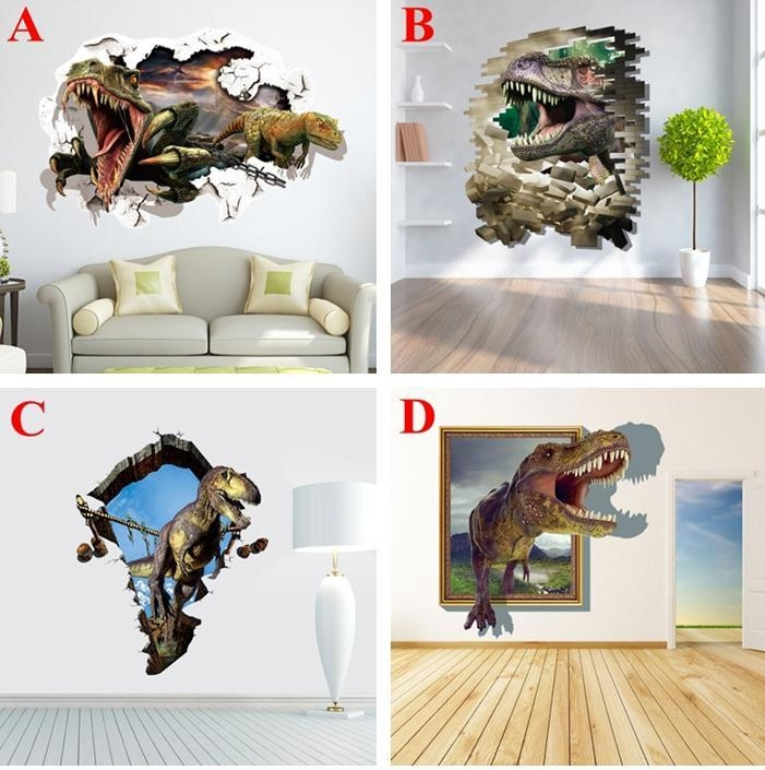 Dinosaur 3D Wall Stickers Jurassic World Vinyl Decals For Kids Intended For Vinyl 3D Wall Art (Image 11 of 20)