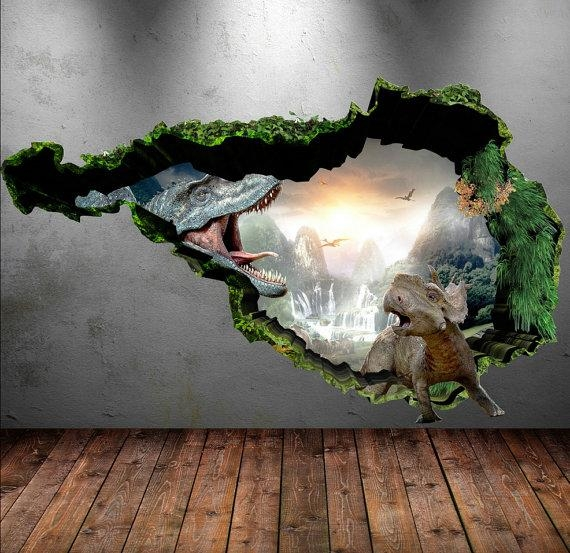 Dinosaur Wall Decal Wall Stickers Full Colour 3D Dinosaur Intended For Dinosaurs 3D Wall Art (Image 12 of 20)