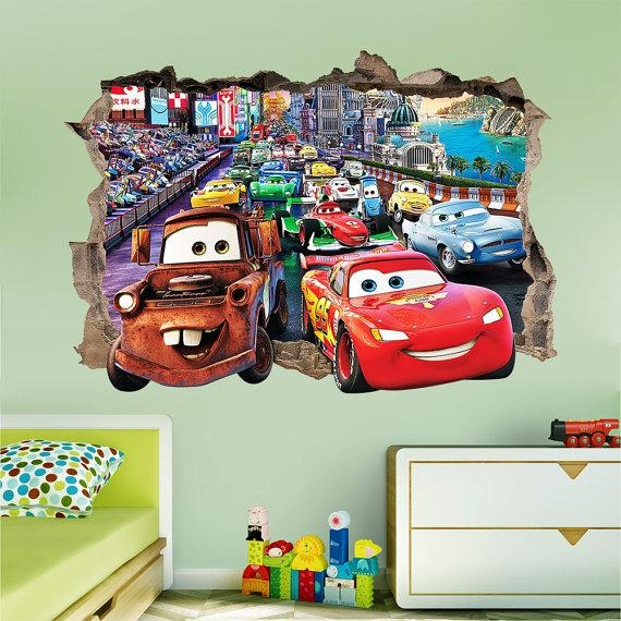 Disney Cars 3D Wall Sticker Smashed Bedroom Kids Decor Vinyl Intended For Cars 3D Wall Art (View 14 of 20)