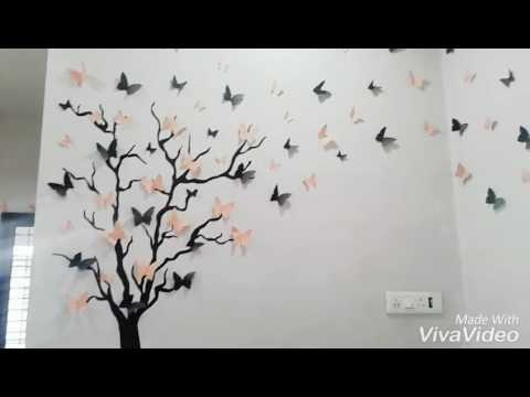 Diy 3D Butterfly Wall Art – Youtube With Diy 3D Wall Art Butterflies (Image 13 of 20)