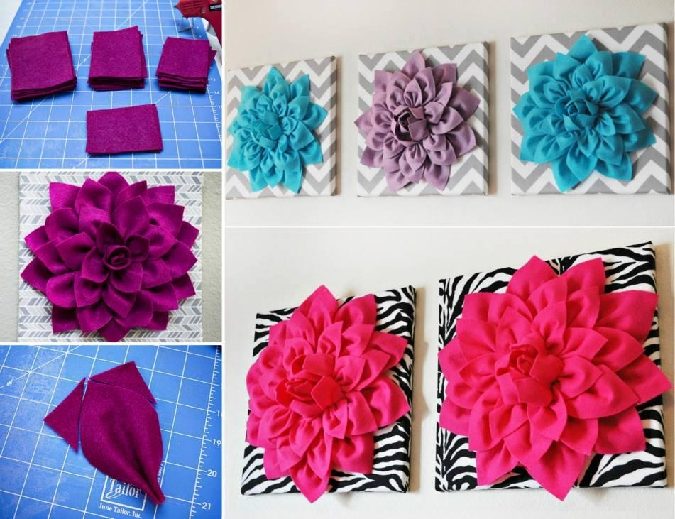 Diy 3D Felt Flower Wall Art | Beesdiy Inside 3D Flower Wall Art (Image 8 of 20)