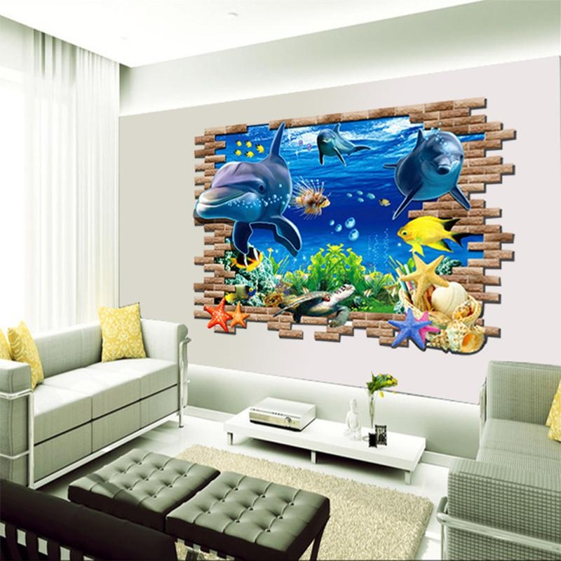 Diy Beautiful Sea World Dolphin 3D Wall Art Window Sticker Vinyl For Vinyl 3D Wall Art (Image 12 of 20)