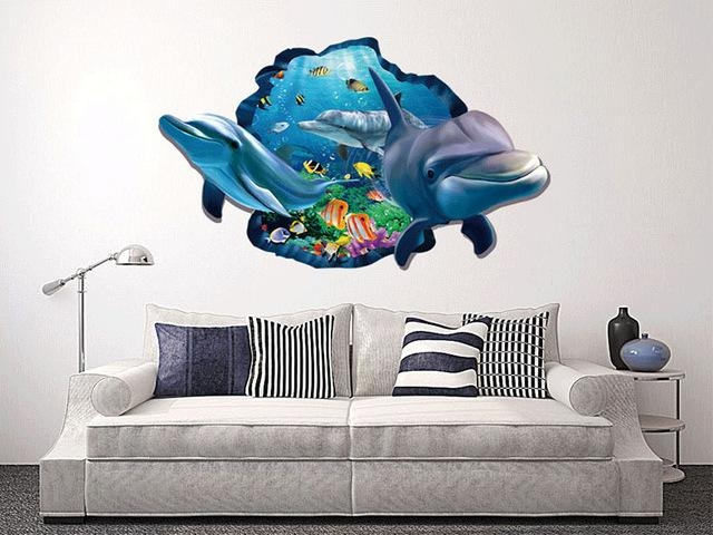 Diy Beautiful Sea World Dolphin 3D Wall Art Window Wall Sticker In Vinyl 3D Wall Art (Image 13 of 20)