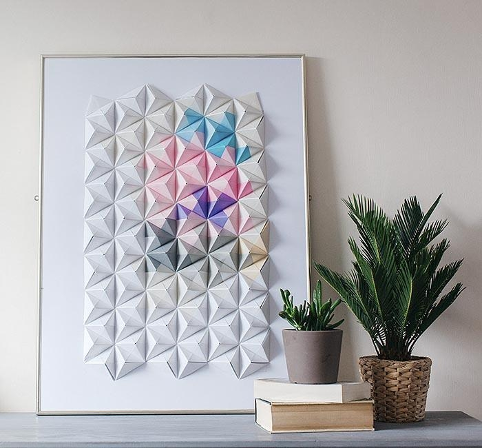Diy Origami Wall Display – Design*sponge Pertaining To Diy 3D Wall Art Decor (Image 17 of 20)