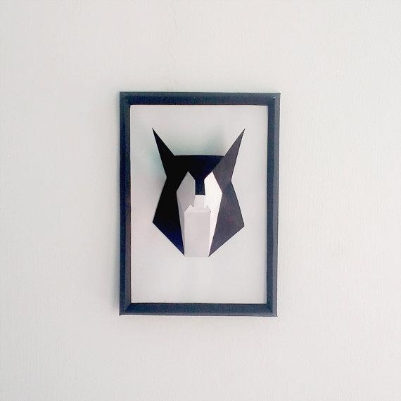 Diy Paper Fox Framewolf Papercraftshandmade3D Model Wall Pertaining To Wolf 3D Wall Art (Image 5 of 20)