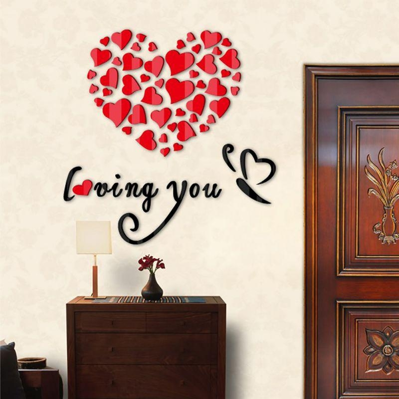 Diy Wall Art Decoration Wall Stickers 3D Romantic Heart Wall Regarding Heart 3D Wall Art (Image 10 of 20)