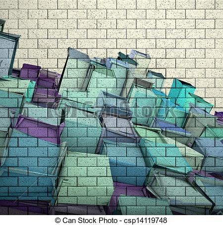 Drawing Of 3D Mosaic Tile Brick Wall With Cube Fragmented Pattern Within 3D Brick Wall Art (Image 13 of 20)
