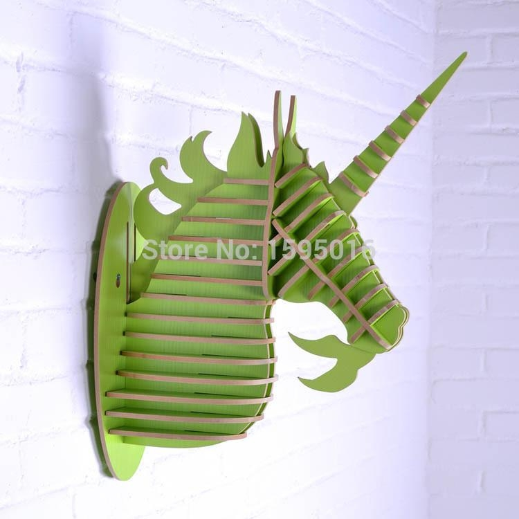 Easy Assembly Diy 3D Wood Unicorn Head Home Decor,european Fashion Inside 3D Unicorn Wall Art (Photo 17 of 20)